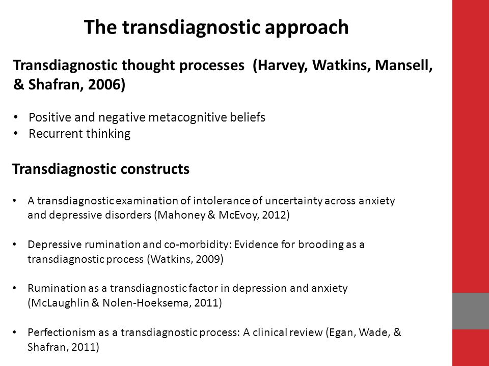 The transdiagnostic approach