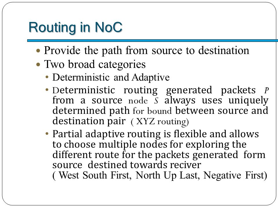 Routing in NoC Provide the path from source to destination