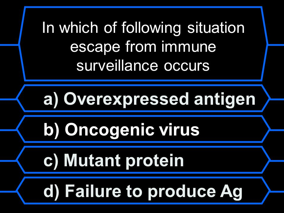 In which of following situation escape from immune surveillance occurs