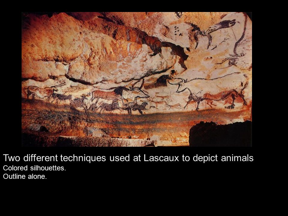 Two different techniques used at Lascaux to depict animals