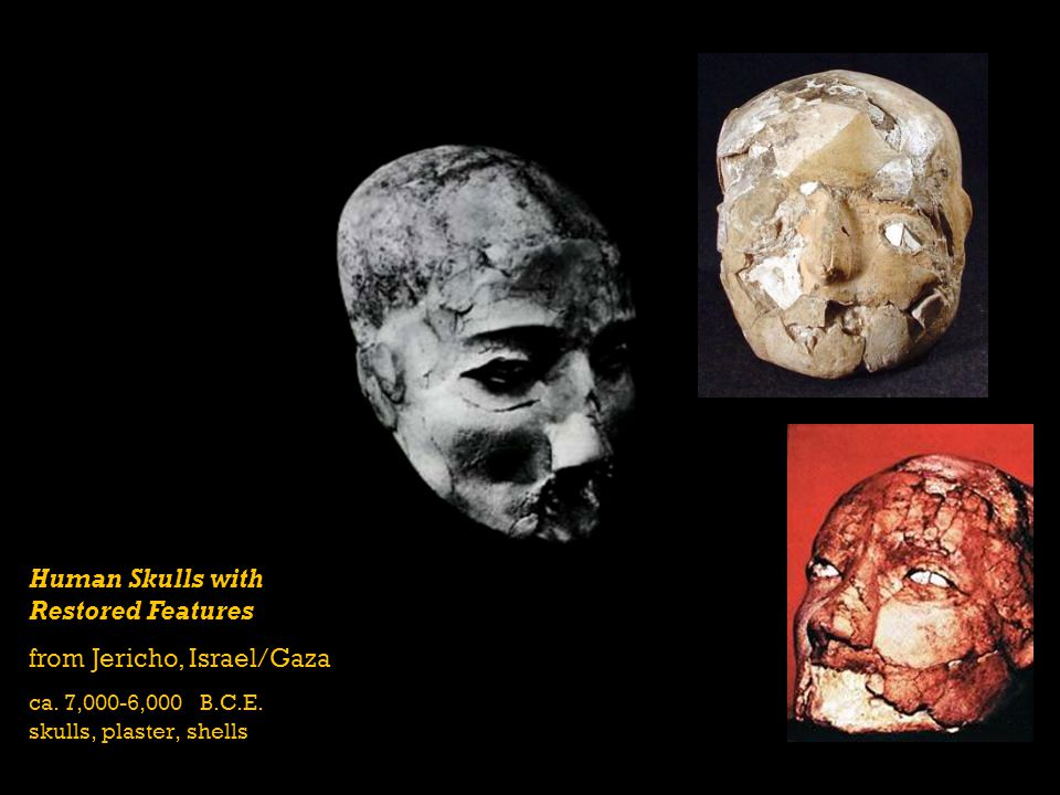 Human Skulls with Restored Features from Jericho, Israel/Gaza