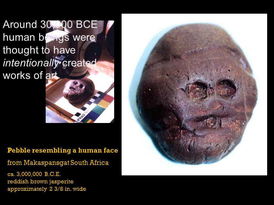 Around 30,000 BCE human beings were thought to have intentionally created works of art