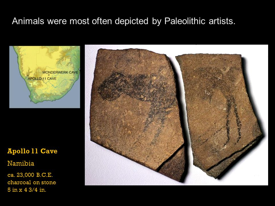 Animals were most often depicted by Paleolithic artists.