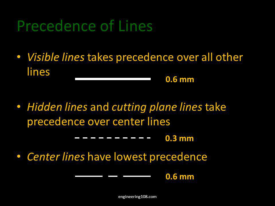 Precedence of Lines Visible lines takes precedence over all other lines. Hidden lines and cutting plane lines take precedence over center lines.
