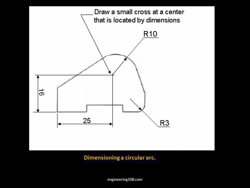 Dimensioning a circular arc.
