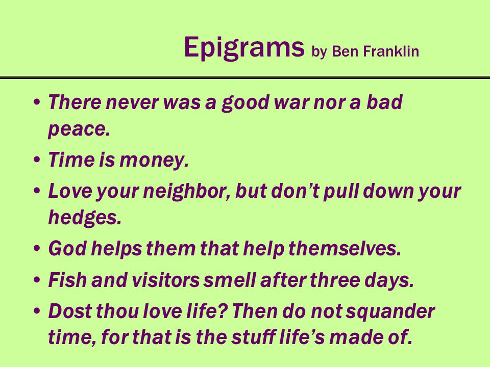 Epigrams by Ben Franklin