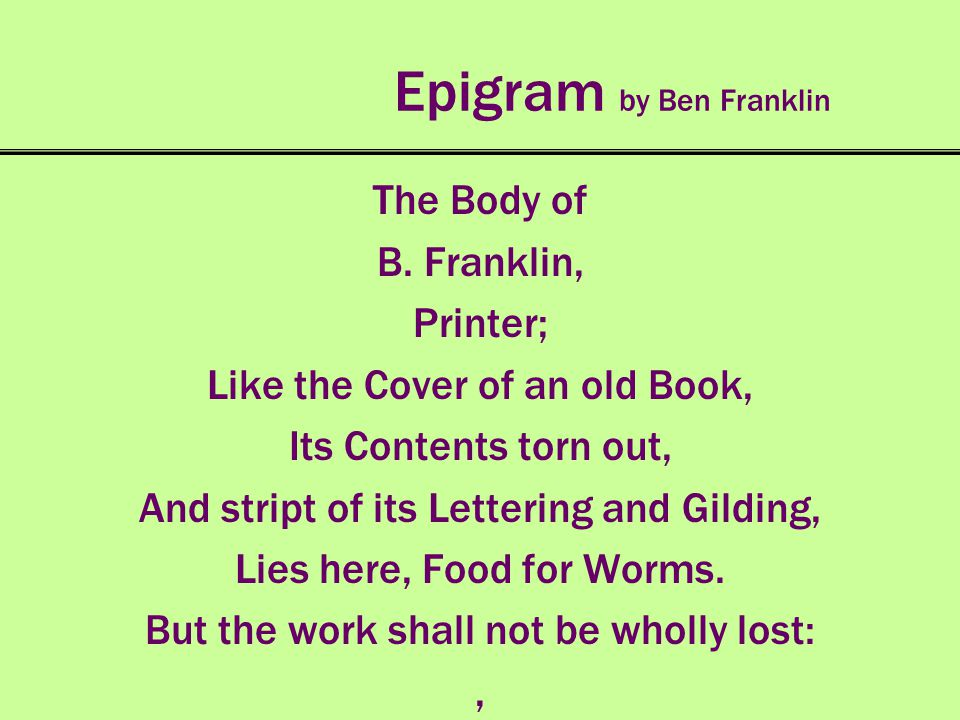 Epigram by Ben Franklin