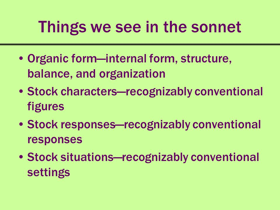 Things we see in the sonnet