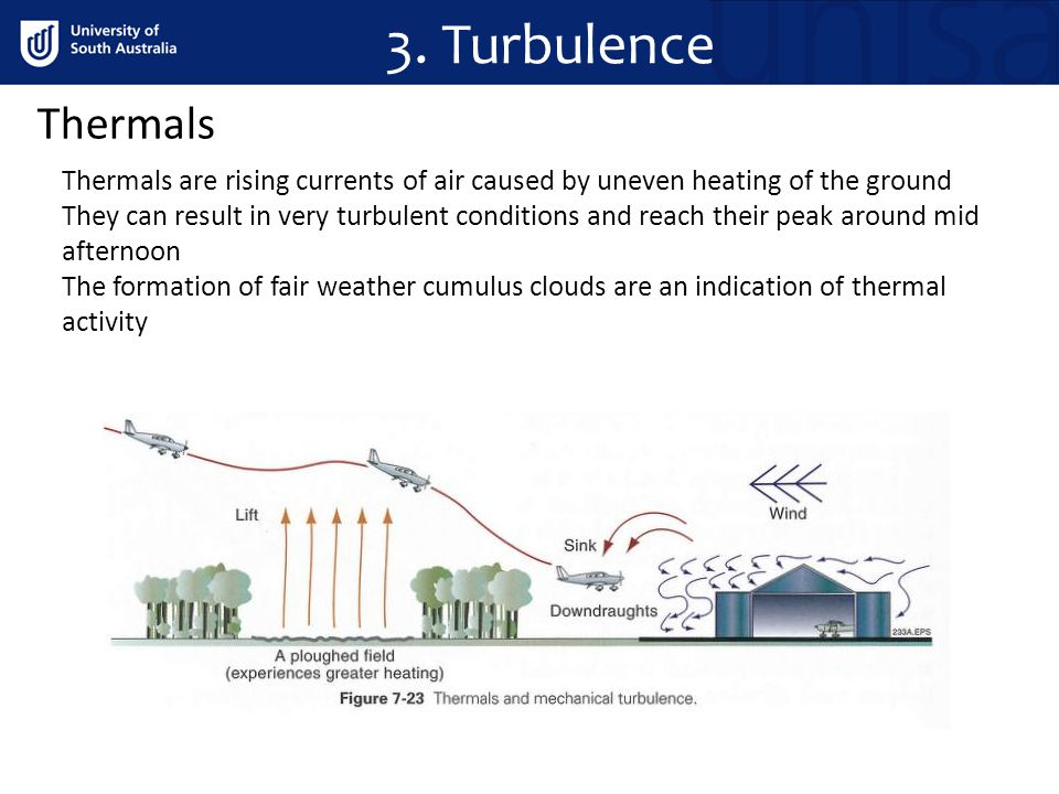 3. Turbulence Thermals. Thermals are rising currents of air caused by uneven heating of the ground.