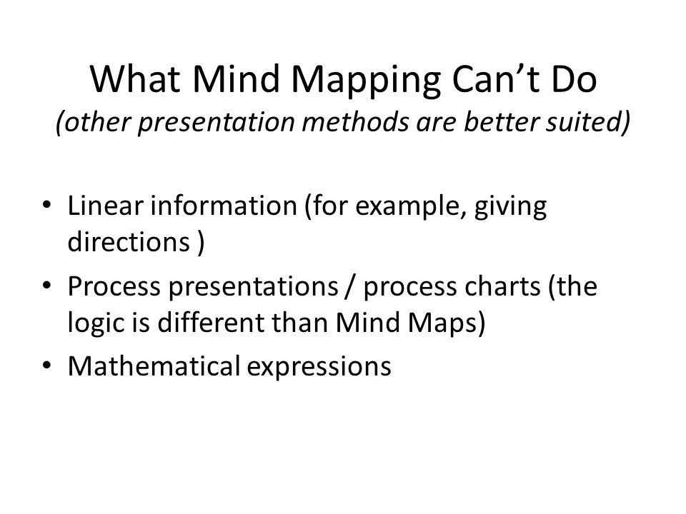 What Mind Mapping Can't Do (other presentation methods are better suited)