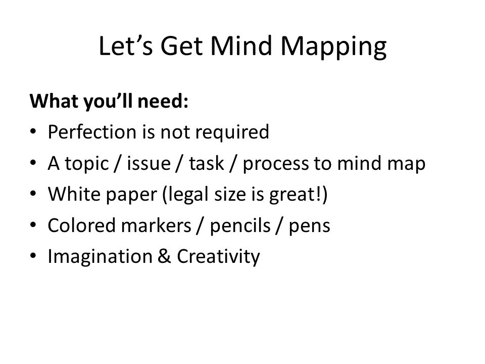 Let's Get Mind Mapping What you'll need: Perfection is not required