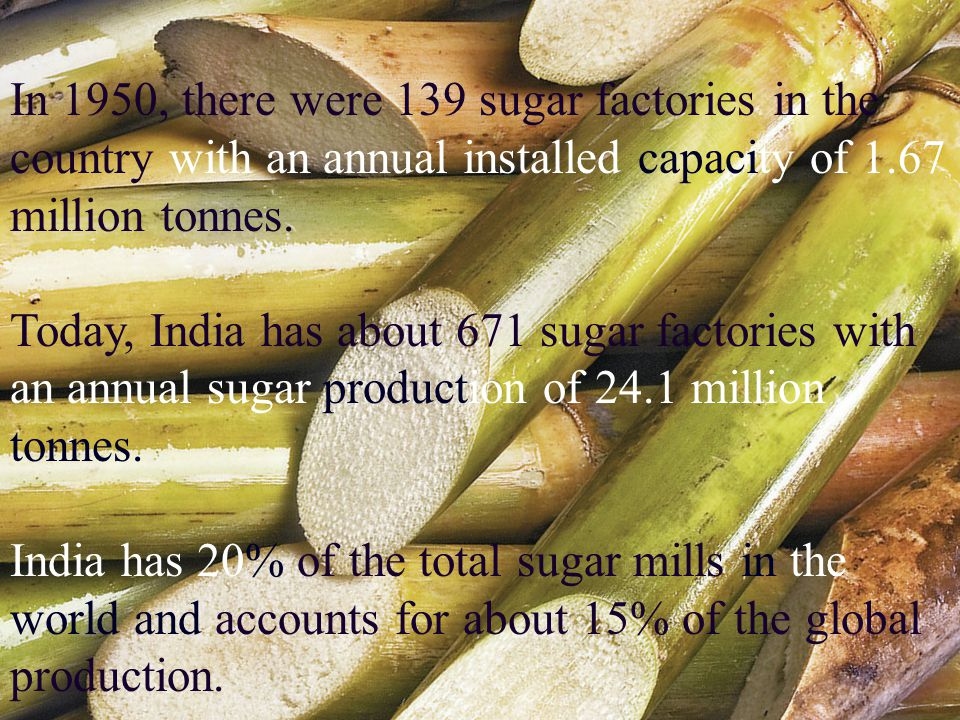 In 1950, there were 139 sugar factories in the country with an annual installed capacity of 1.67 million tonnes.