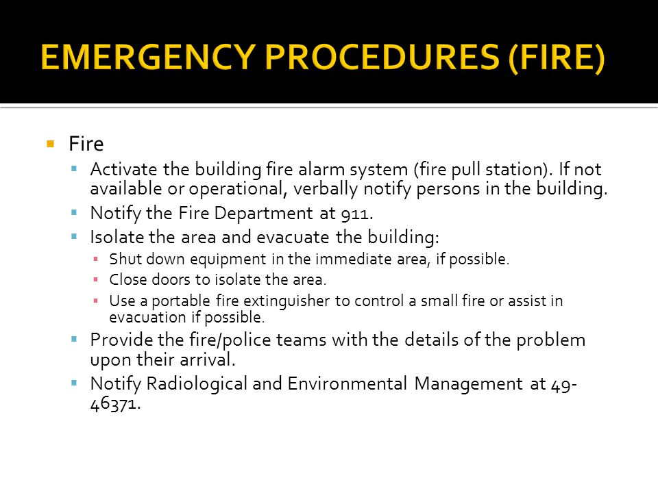 EMERGENCY PROCEDURES (FIRE)