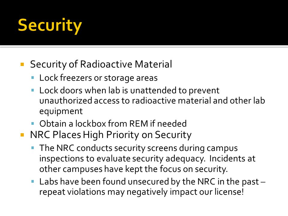 Security Security of Radioactive Material