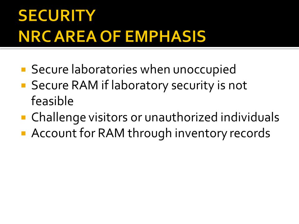 SECURITY NRC AREA OF EMPHASIS