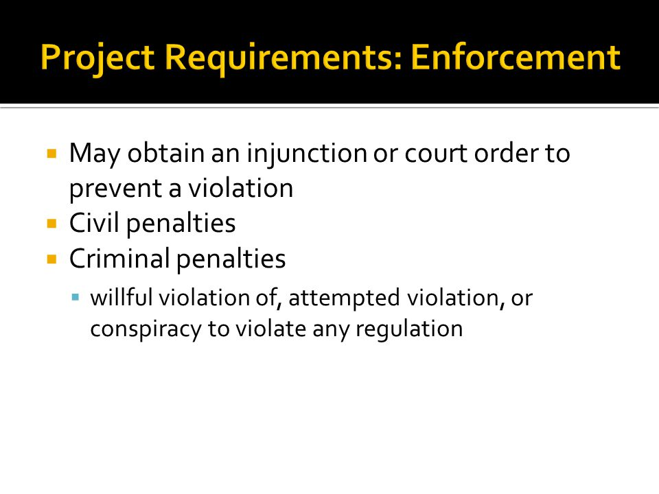 Project Requirements: Enforcement