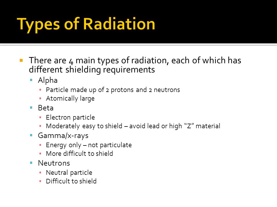Types of Radiation There are 4 main types of radiation, each of which has different shielding requirements.