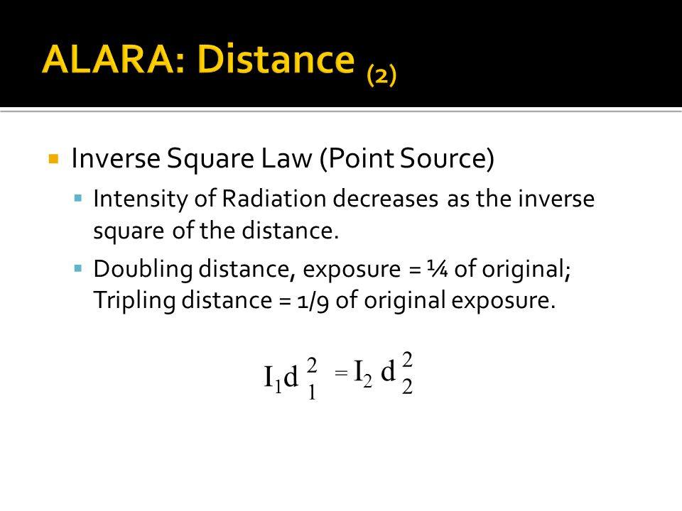 ALARA: Distance (2) Inverse Square Law (Point Source) d I1d