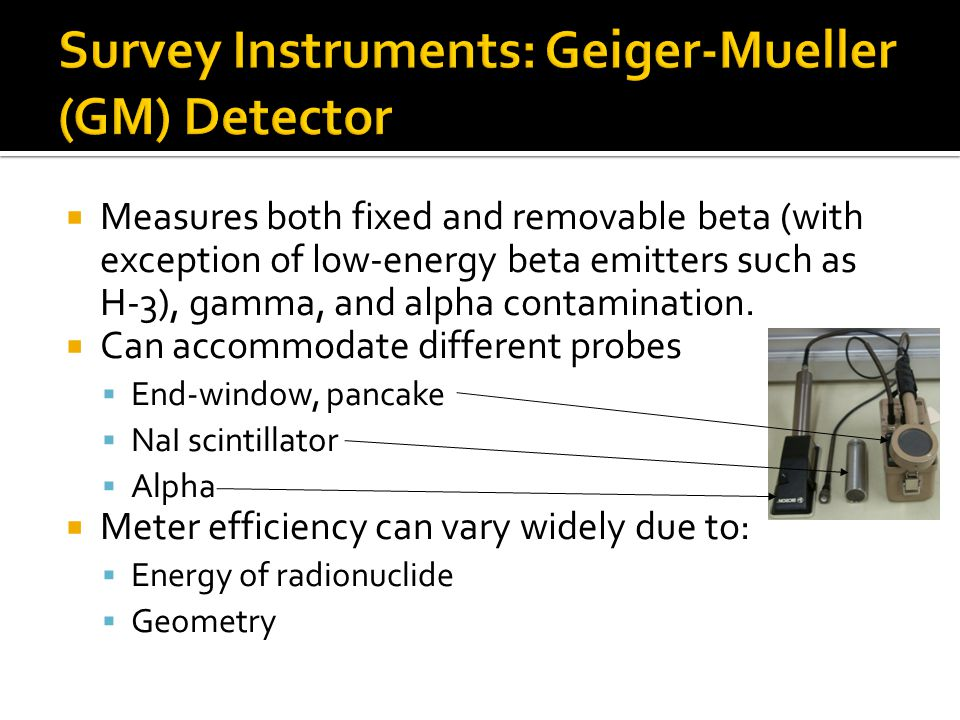 Survey Instruments: Geiger-Mueller (GM) Detector
