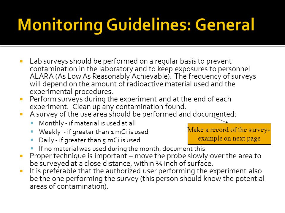 Monitoring Guidelines: General