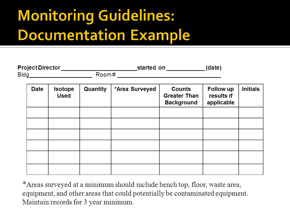 Monitoring Guidelines: Documentation Example