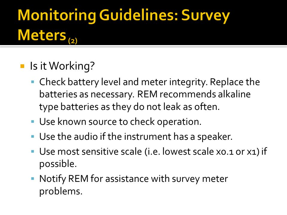 Monitoring Guidelines: Survey Meters (2)
