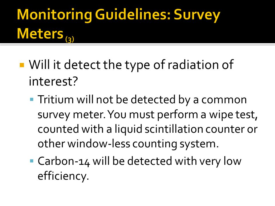 Monitoring Guidelines: Survey Meters (3)