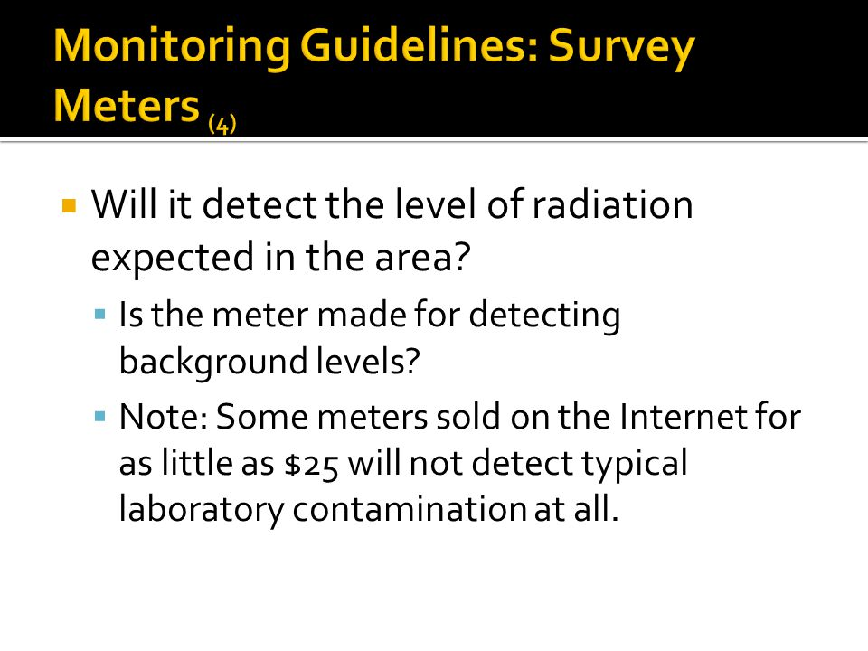 Monitoring Guidelines: Survey Meters (4)