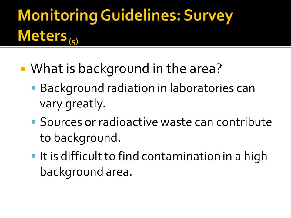 Monitoring Guidelines: Survey Meters (5)