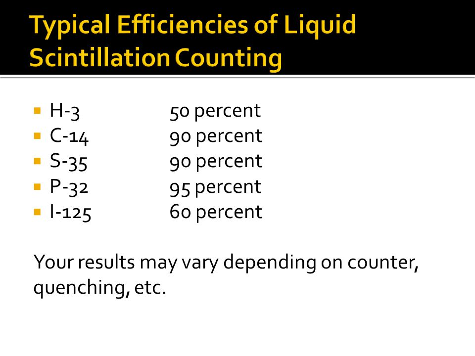 Typical Efficiencies of Liquid Scintillation Counting
