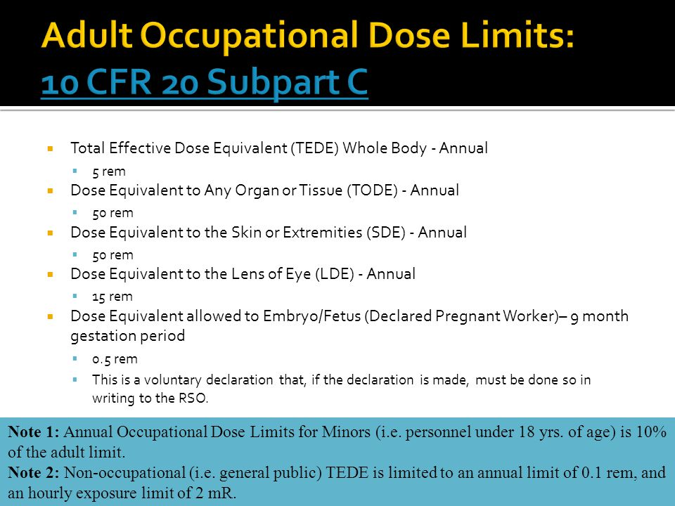 Adult Occupational Dose Limits: 10 CFR 20 Subpart C