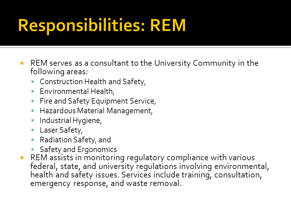 Responsibilities: REM