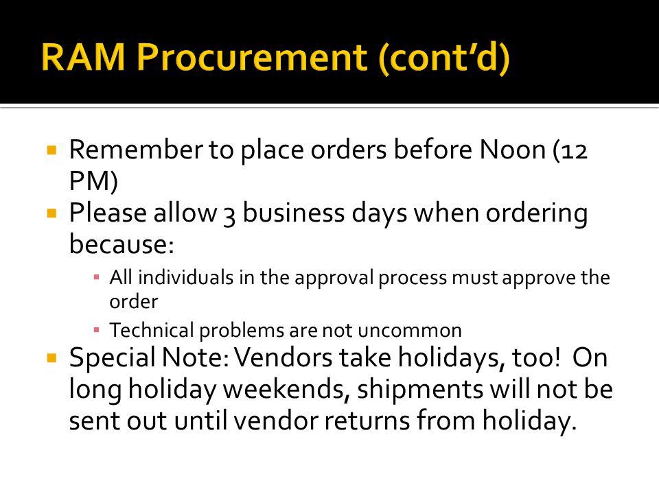 RAM Procurement (cont'd)