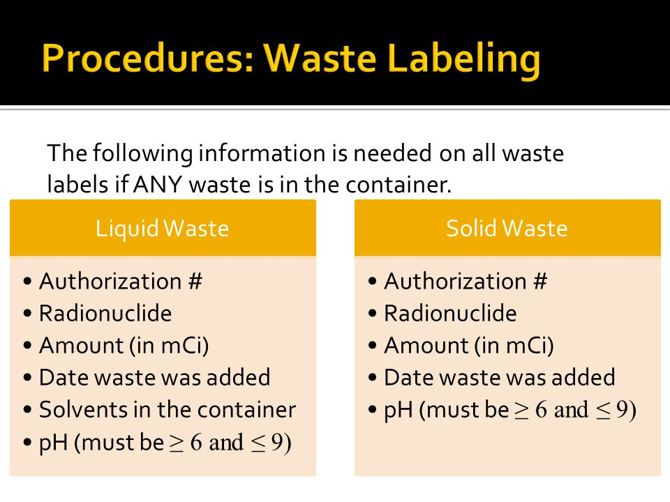 Procedures: Waste Labeling