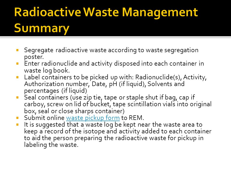 Radioactive Waste Management Summary