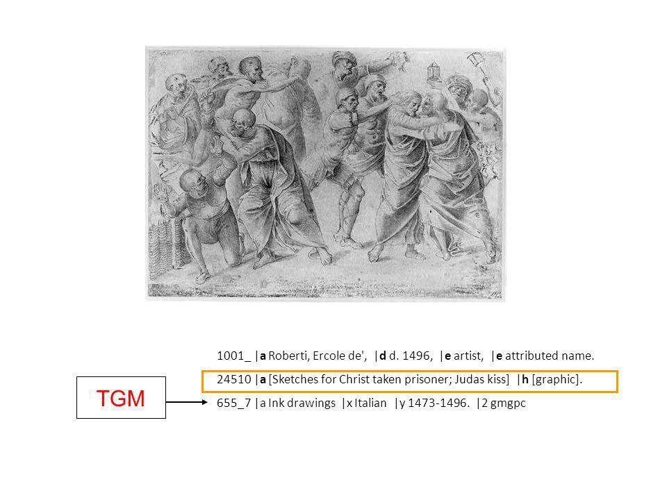 1001_ |a Roberti, Ercole de , |d d. 1496, |e artist, |e attributed name.