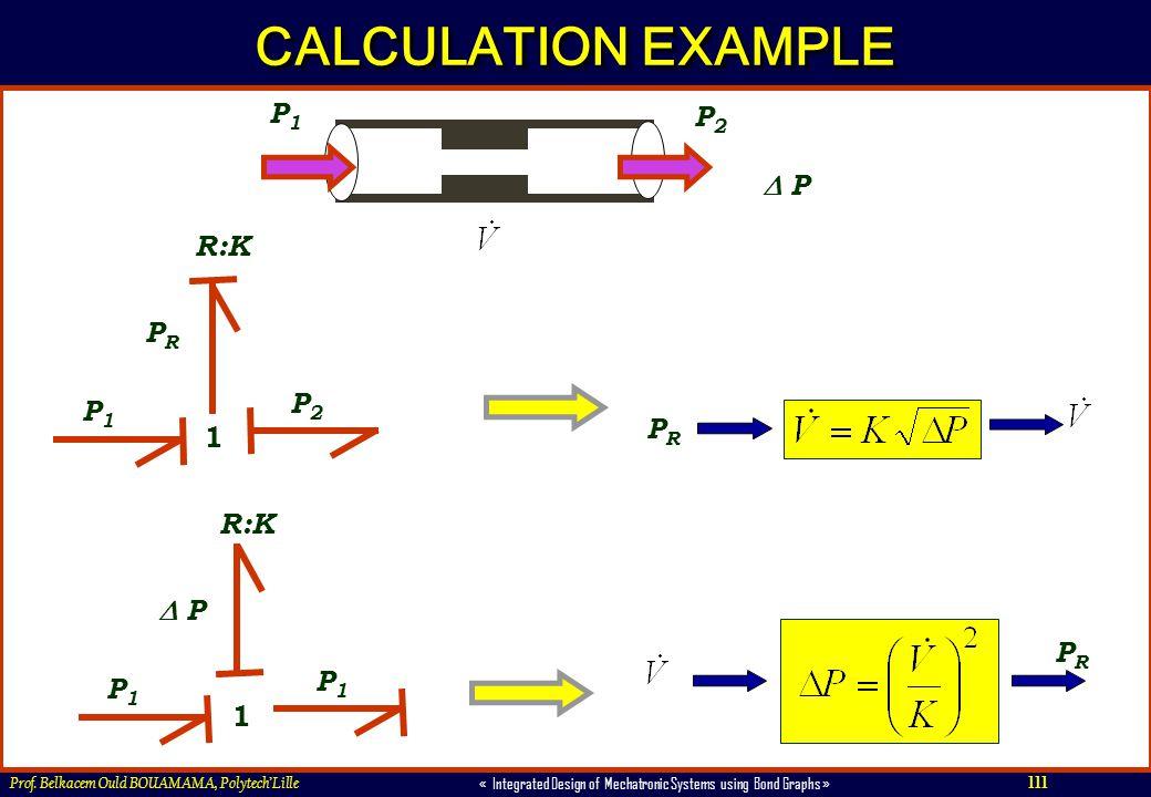 CALCULATION EXAMPLE P1 P2  P R:K PR P2 P1 PR 1 R:K  P PR P1 P1 1