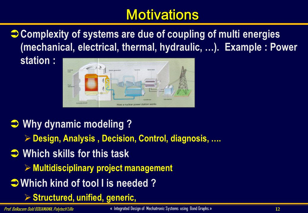 Motivations Complexity of systems are due of coupling of multi energies (mechanical, electrical, thermal, hydraulic, …). Example : Power station :