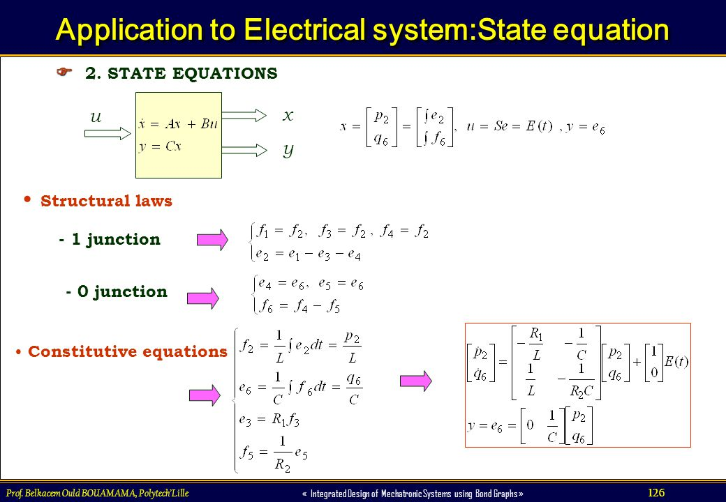 Application to Electrical system:State equation