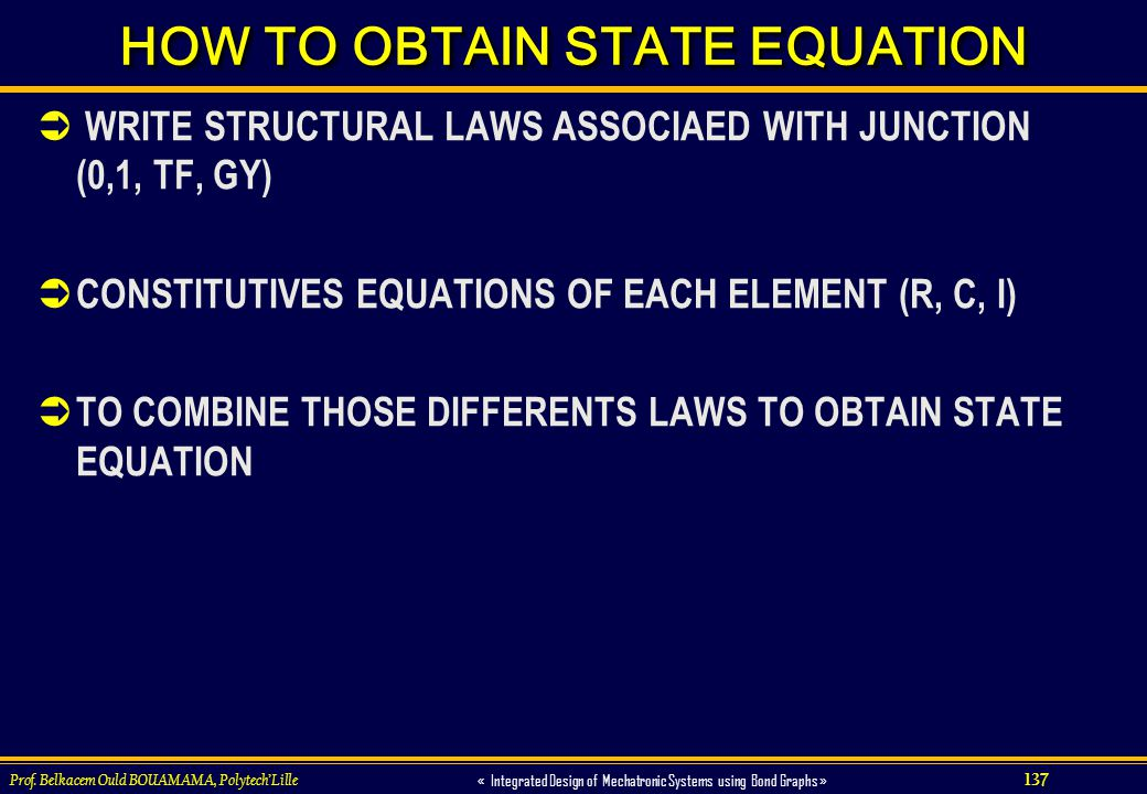 HOW TO OBTAIN STATE EQUATION