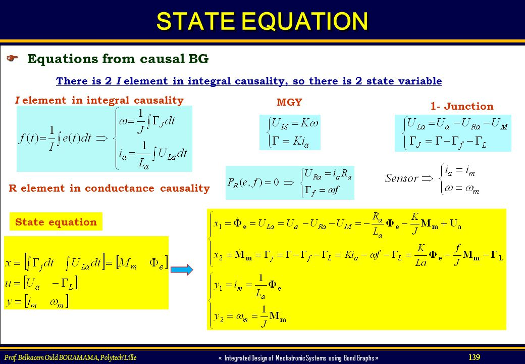 STATE EQUATION  Equations from causal BG