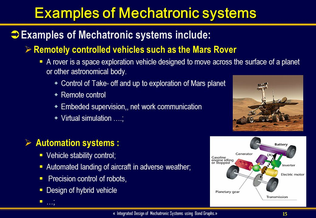 Examples of Mechatronic systems