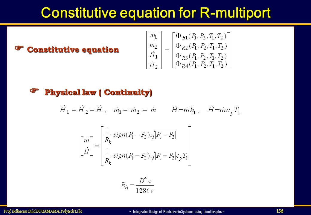 Constitutive equation for R-multiport