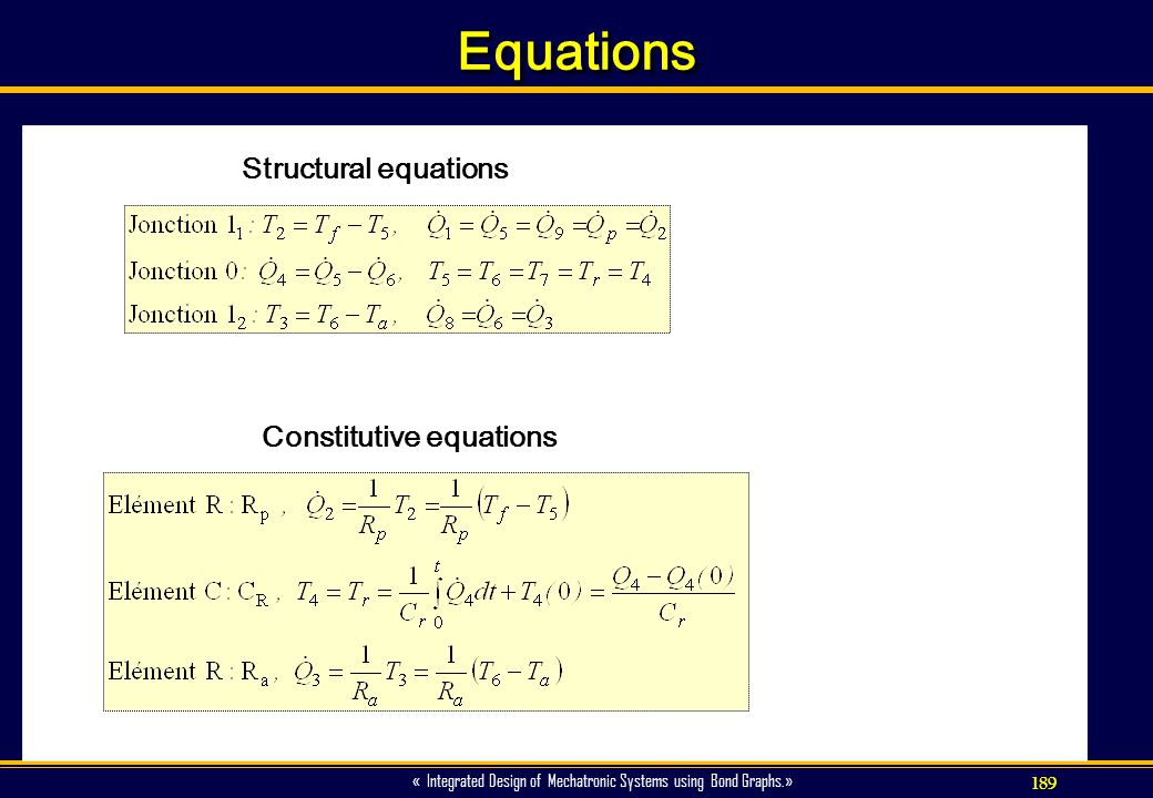 Equations Structural equations Constitutive equations