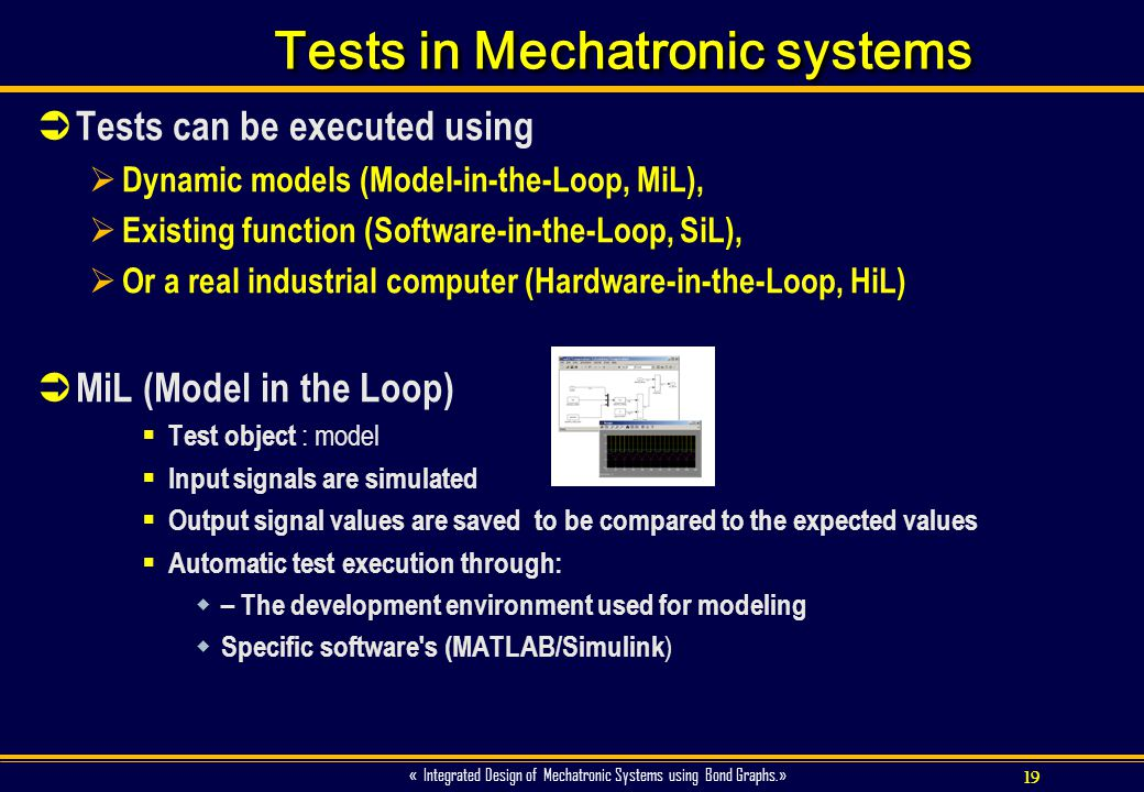 Tests in Mechatronic systems