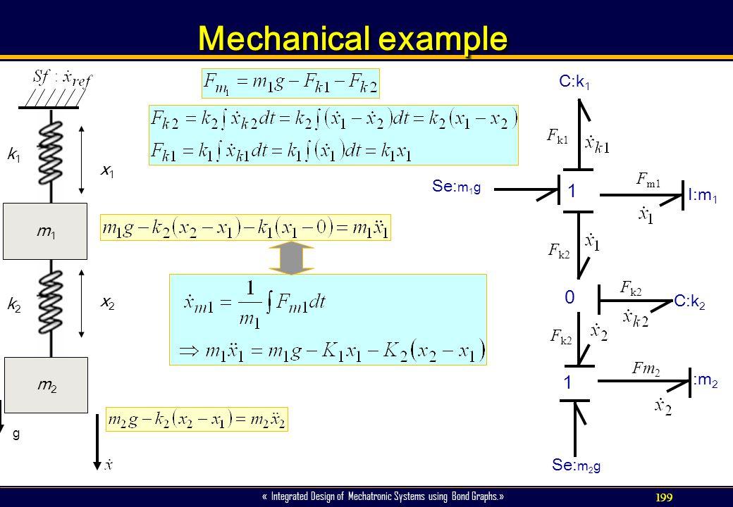 Mechanical example 1 x1 x2 k1 k2 m2 m1 I:m2 I:m1 C:k2 C:k1 Se:m2g Fm2