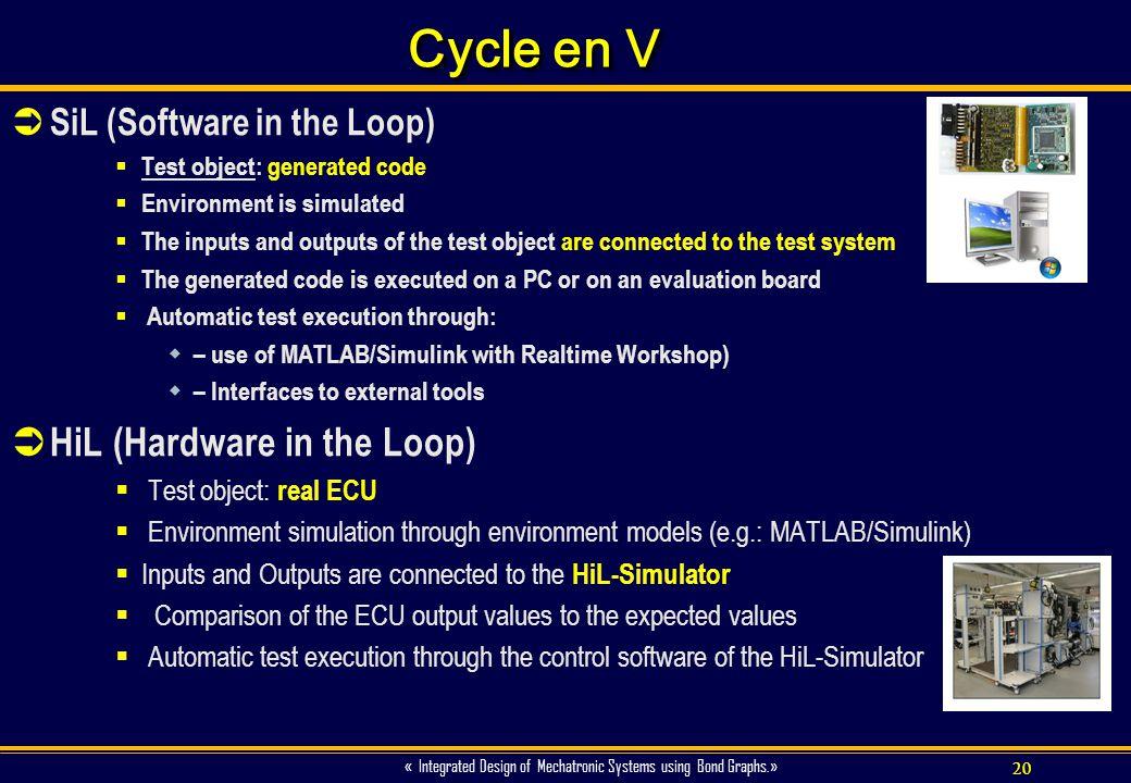 Cycle en V HiL (Hardware in the Loop) SiL (Software in the Loop)