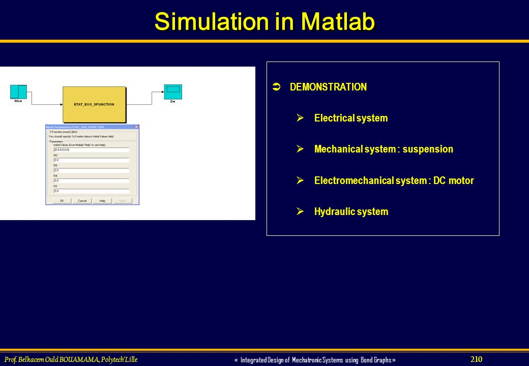 Simulation in Matlab DEMONSTRATION Electrical system