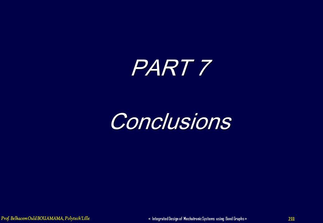 PART 7 Conclusions Prof. Belkacem Ould BOUAMAMA, Polytech'Lille