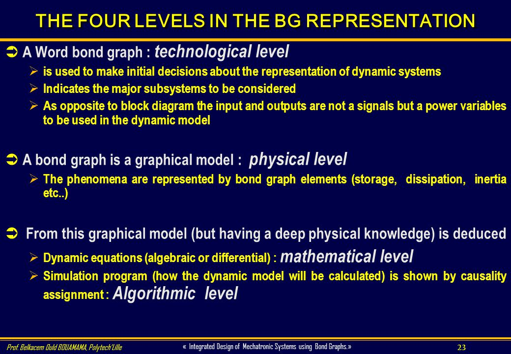 THE FOUR LEVELS IN THE BG REPRESENTATION
